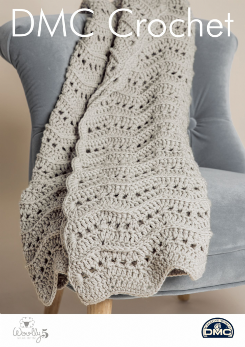 Warm & Wavy Throw 15420L/2 - Home Woolly 5 DMC Crochet Pattern